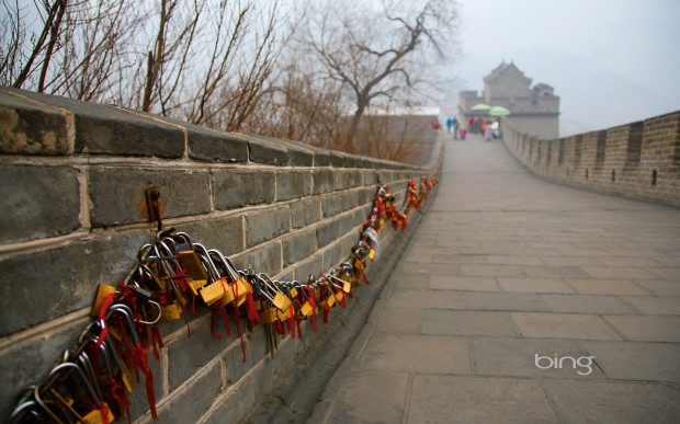 Love locks displayed on the Great Wall of China near Beijing