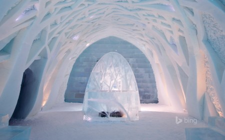 Entrance foyer inside the Ice Hotel in Kiruna, Sweden