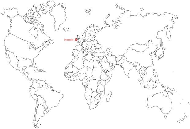 Ubicación Irlanda en el mundo.